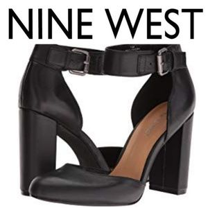Nine West Black Leather Lynnora Ankle Strap Heels